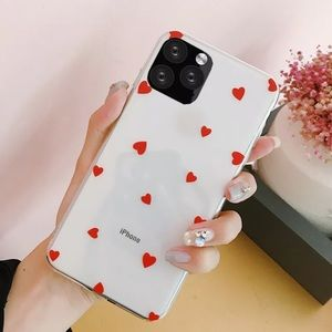 Clear, Red Heart Case for iPhone 11, pro, max